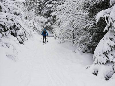 Skieur en randonnée au Lioran