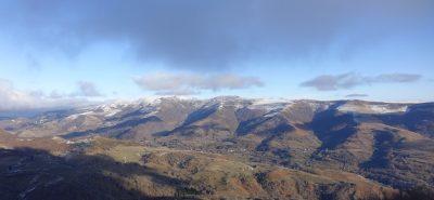 Vue sur le Massif Cantalien en Hiver